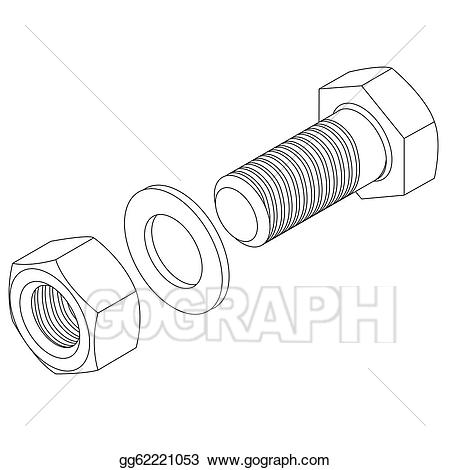 graphic stock Art stainless and nut. Bolt vector steel