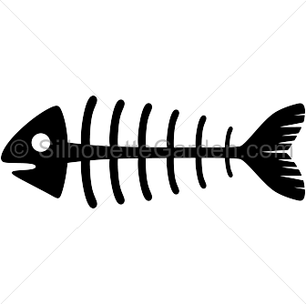 clipart freeuse stock Bones clipart fish bone. Skeleton silhouette clip art.