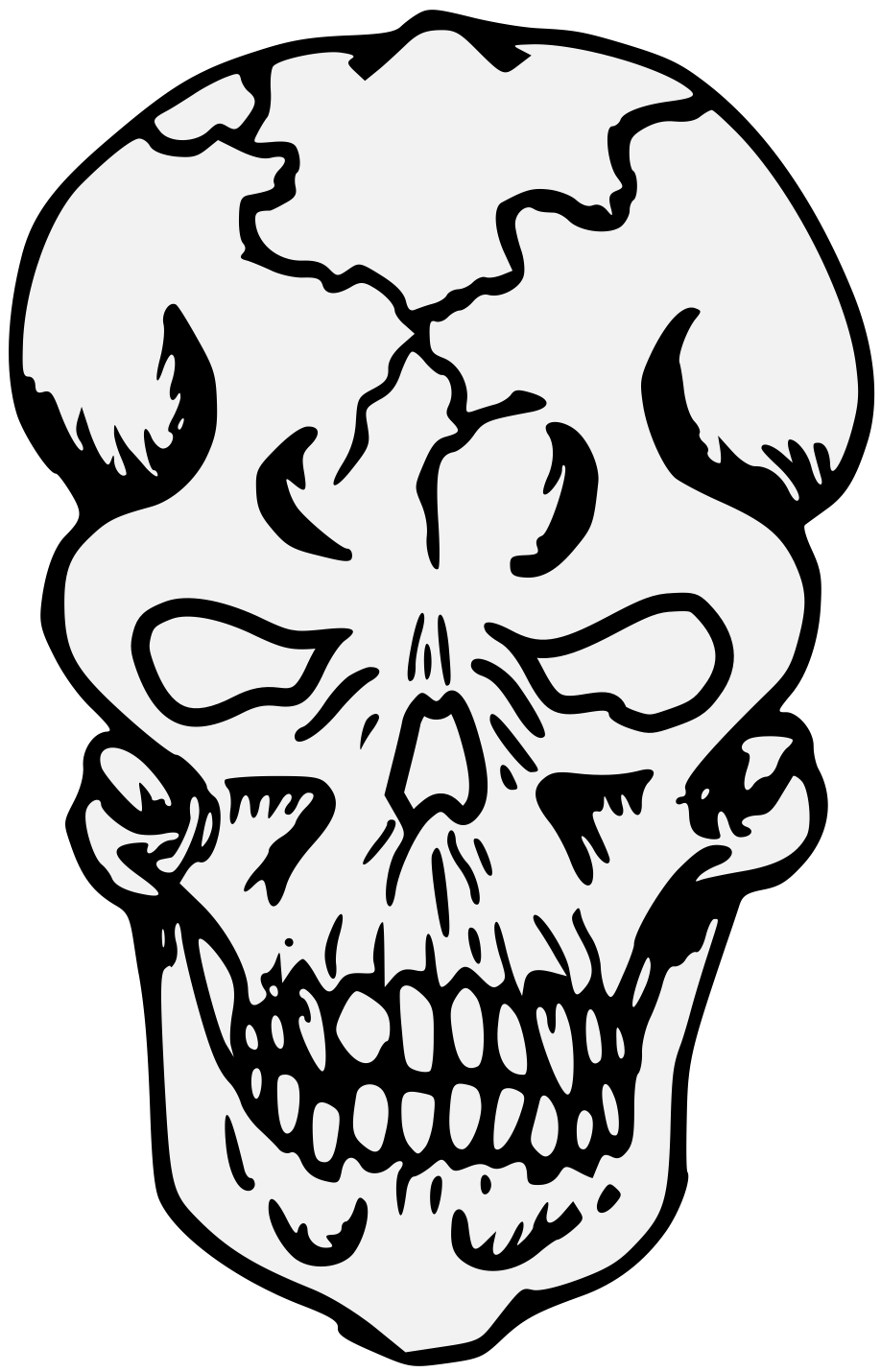 transparent download Skull heraldic art pdf. Bones clipart traceable.