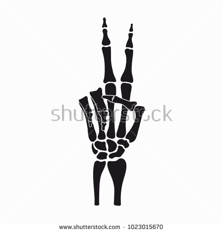 vector transparent Peace sign of skeleton. Bones vector black and white