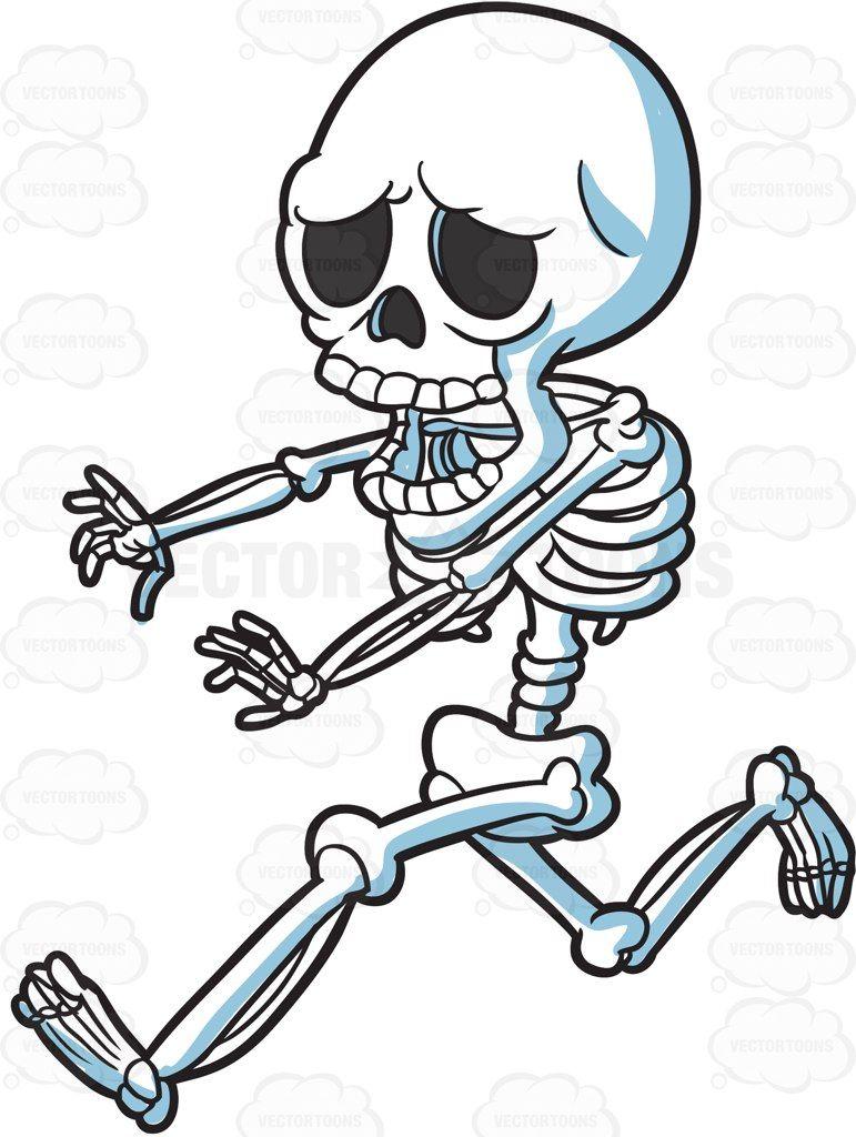 jpg A skeleton running away. Bones vector clipart