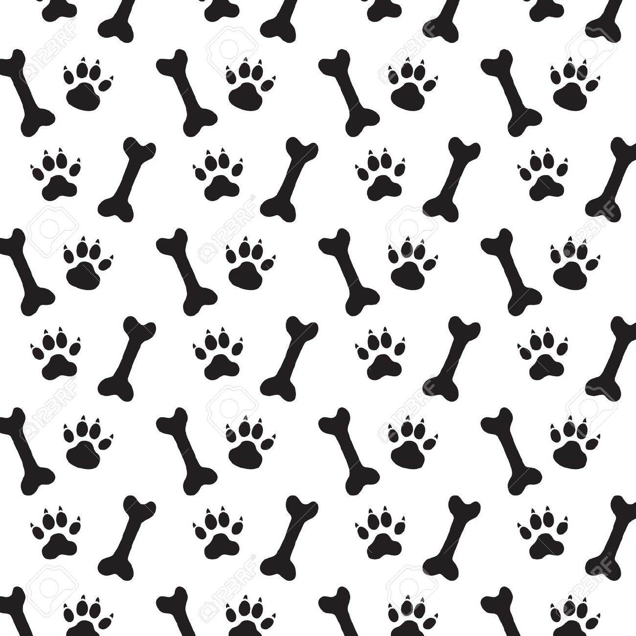 picture black and white Background print bone stock. Bones vector dog paw