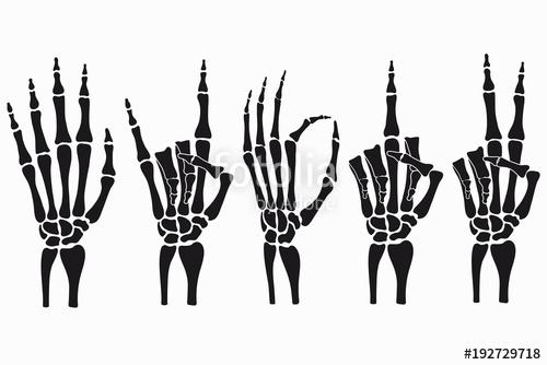 graphic black and white download Skeleton hand gestures set. Bones vector illustration