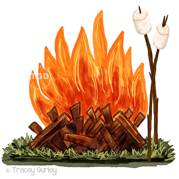 graphic download Campfire and marshmallow watercolor. Bonfire clipart clip art.