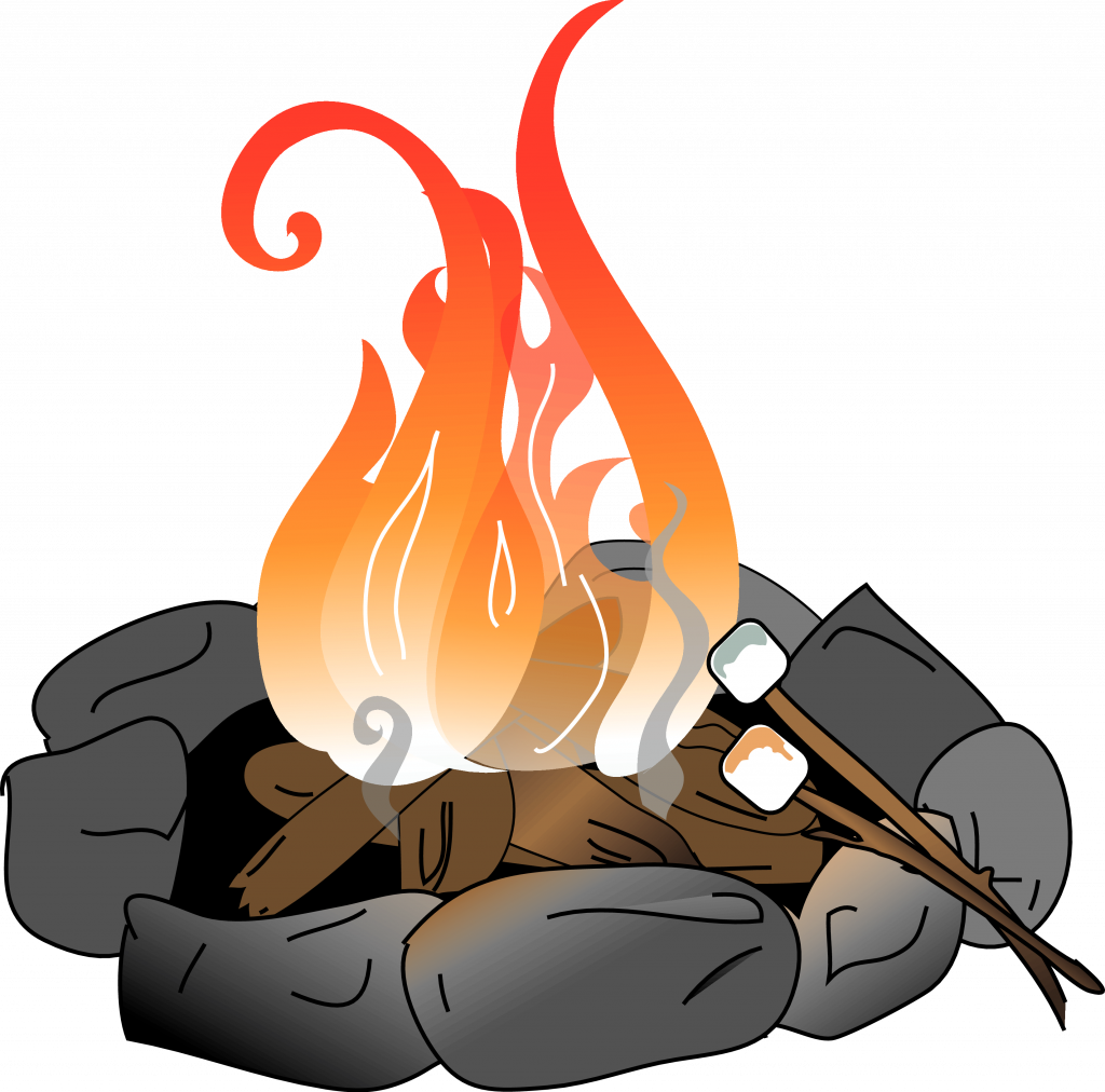 vector black and white download Hd heat library . Bonfire clipart fire pit