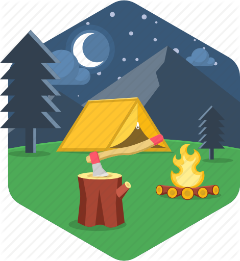 graphic library Bonfire clipart tent. Camping and adventure hexagonal