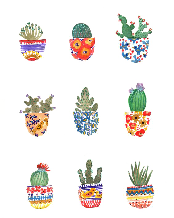clip art royalty free library Cactaceae Watercolor painting Art Drawing Illustration