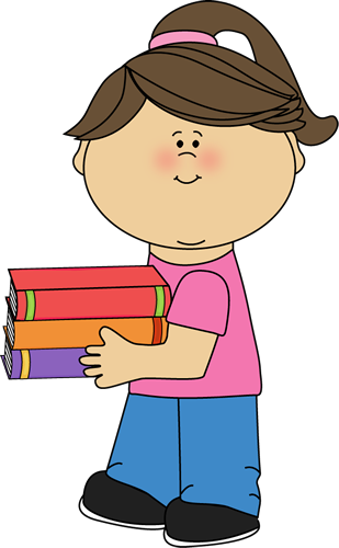 graphic freeuse stock Girl holding books clip. Bowling clipart boy