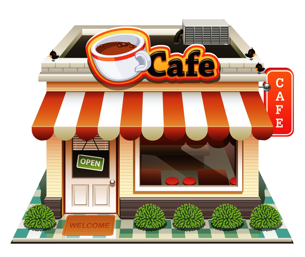 free download Supermarket clipart cafe building. Book shop techflourish collections