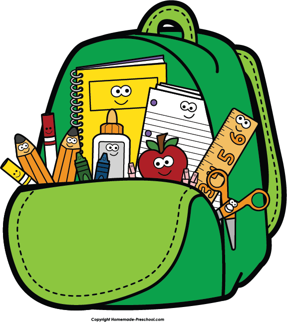 jpg free library Cartoon open backpack exclusive. Bookbag clipart