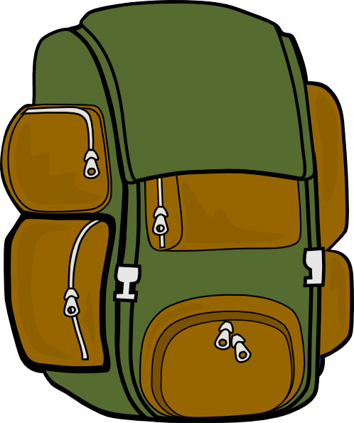 clipart black and white Bookbag clipart brown backpack. Green clip art at