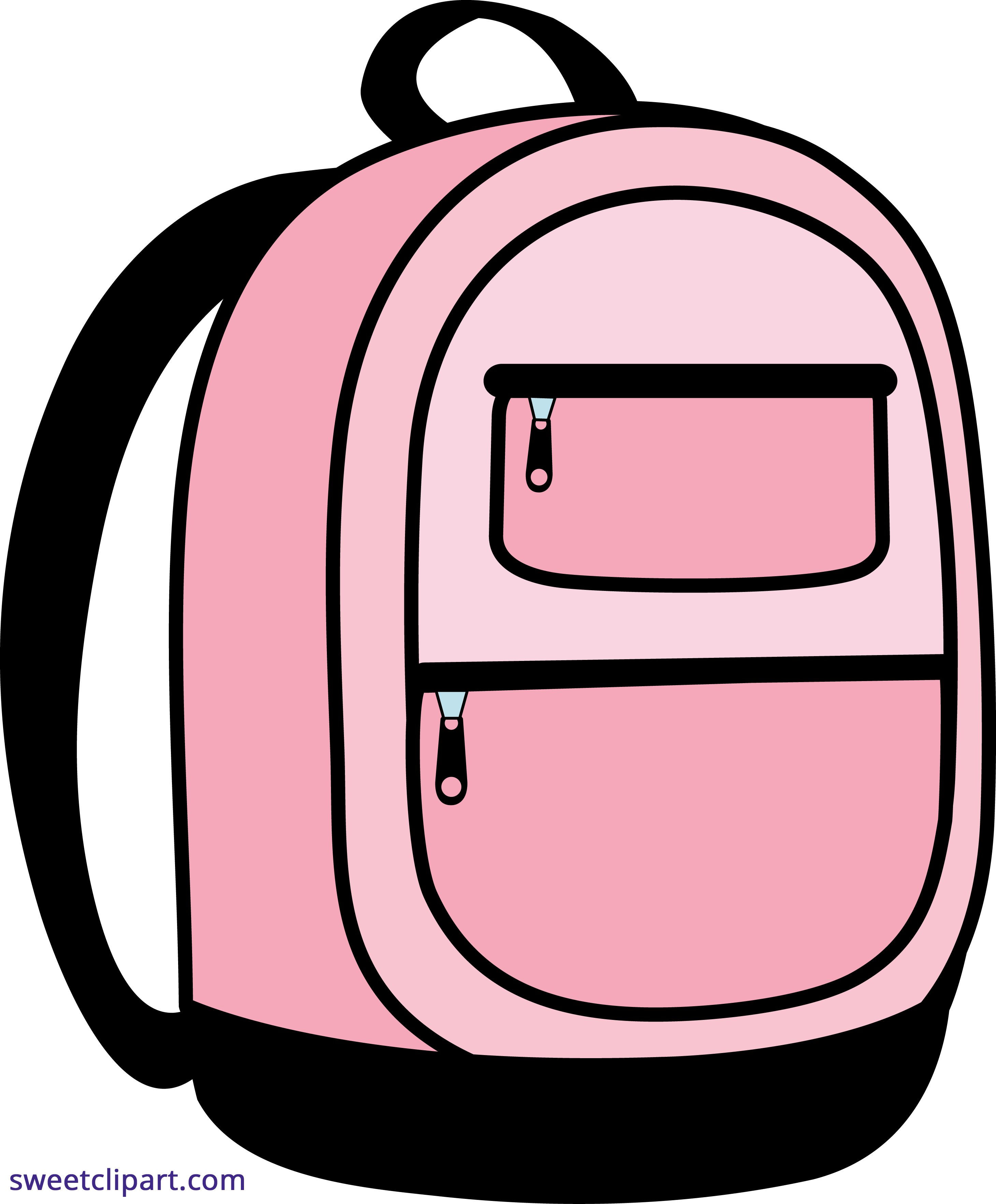 jpg black and white stock Bookbag clipart education indian. Pink school backpack sweet