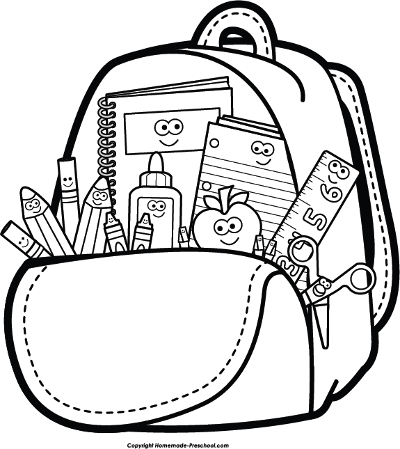 image black and white library Bookbag clipart sschool. Backpack school supply free