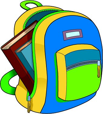 vector freeuse stock Bookbag clipart unzipped. Backpack old