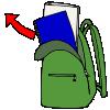 clip stock Lessonpix unpack backpack picture. Bookbag clipart unzipped