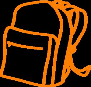 banner library download  clipart orange bag. Bookbag drawing.