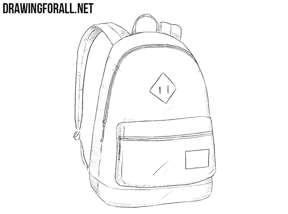 image freeuse library How to draw a. Bookbag drawing.