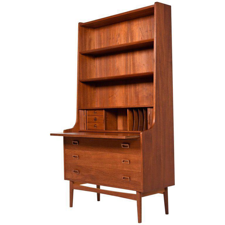 vector free Borge Mogensen Style Danish Teak Bookcase with Secretary Desk