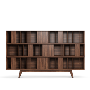 svg black and white library Wordsworth Bookcase is carefully handcrafted in noble walnut wood