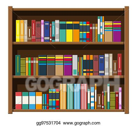 picture Bookshelf vector paper book. Art library shelf bookcase