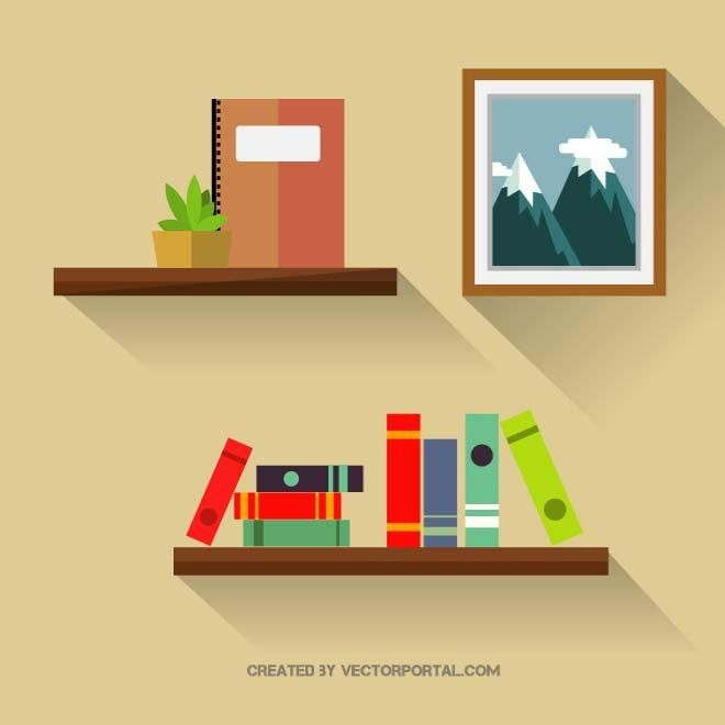 picture transparent download Graphics various free vectors. Bookshelf vector clipart