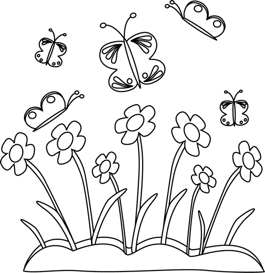 banner freeuse stock Black and White Spring Flowers and Butterflies