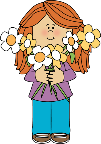 image stock Girl holding a bunch. Students listening to teacher clipart.
