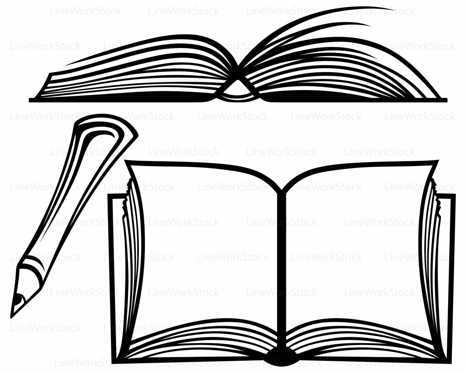 banner stock Books svg black and white. Open book clipart free