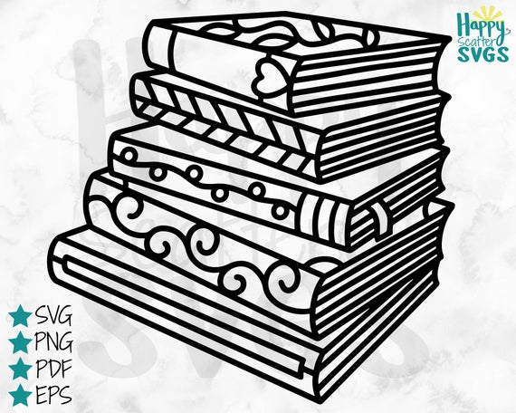 png black and white Books svg drawing. Stack of book cut
