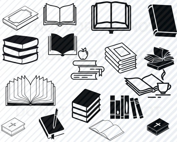 clipart royalty free Vector books silhouette. Book svg bundle images