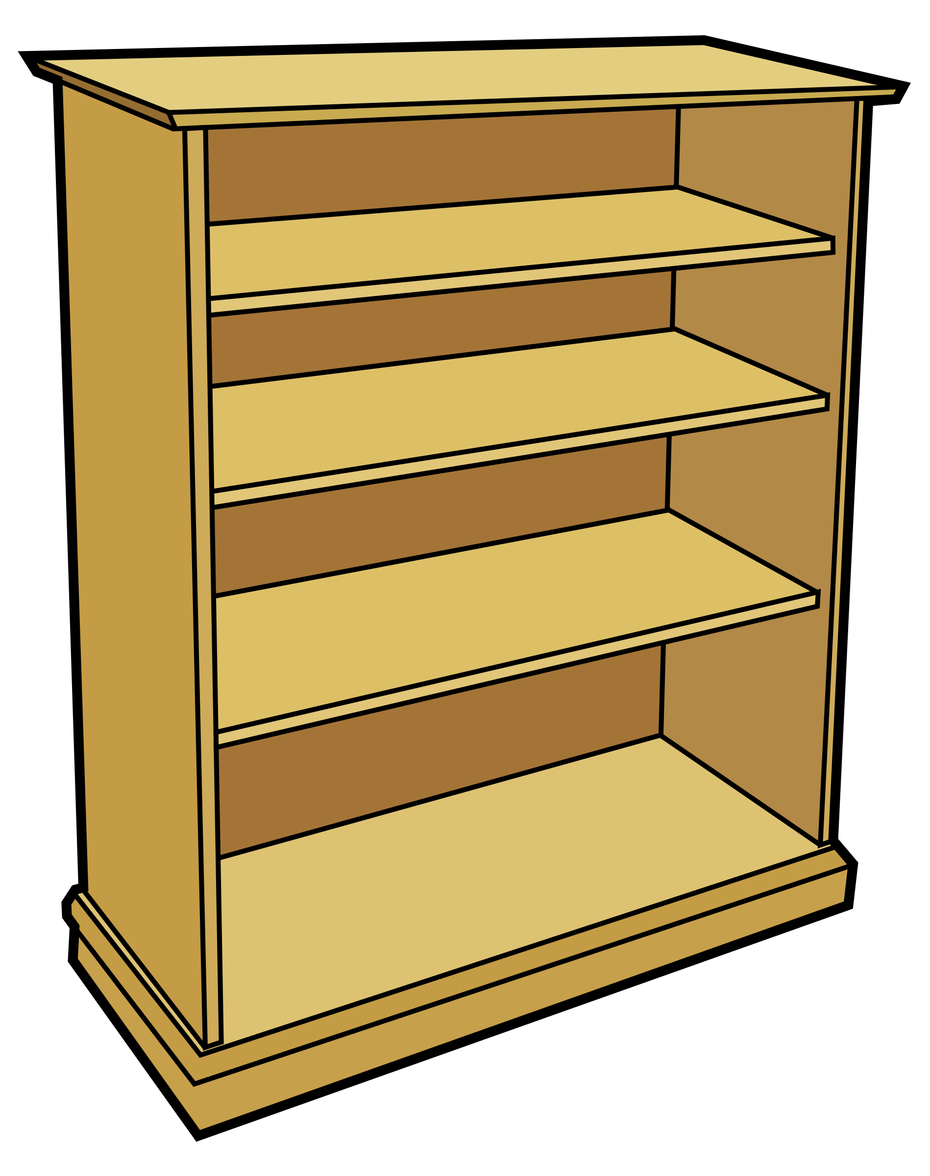 clipart free Bookcase Clipart Wooden Furniture Pencil And In Color