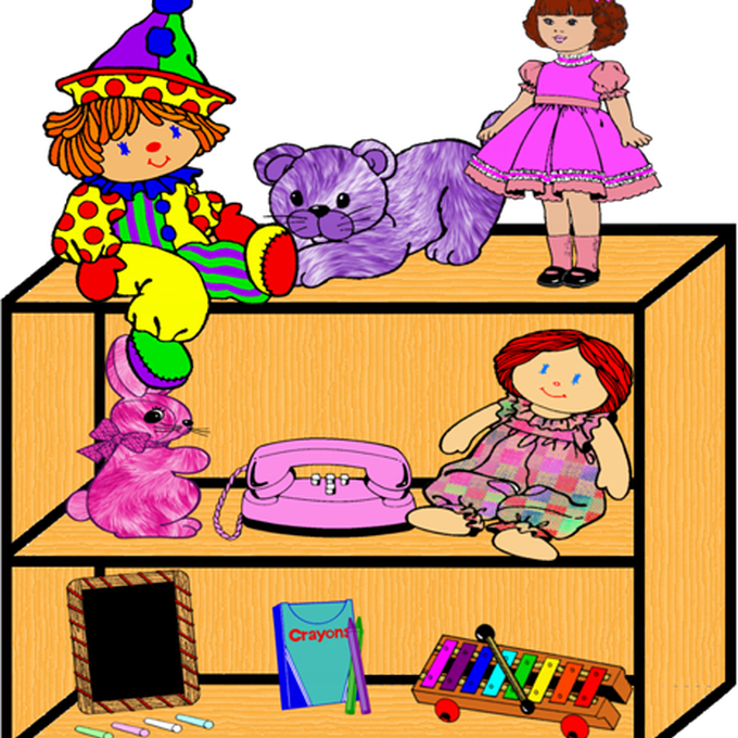 svg royalty free download Vector of different toys. Bookshelf clipart arranged