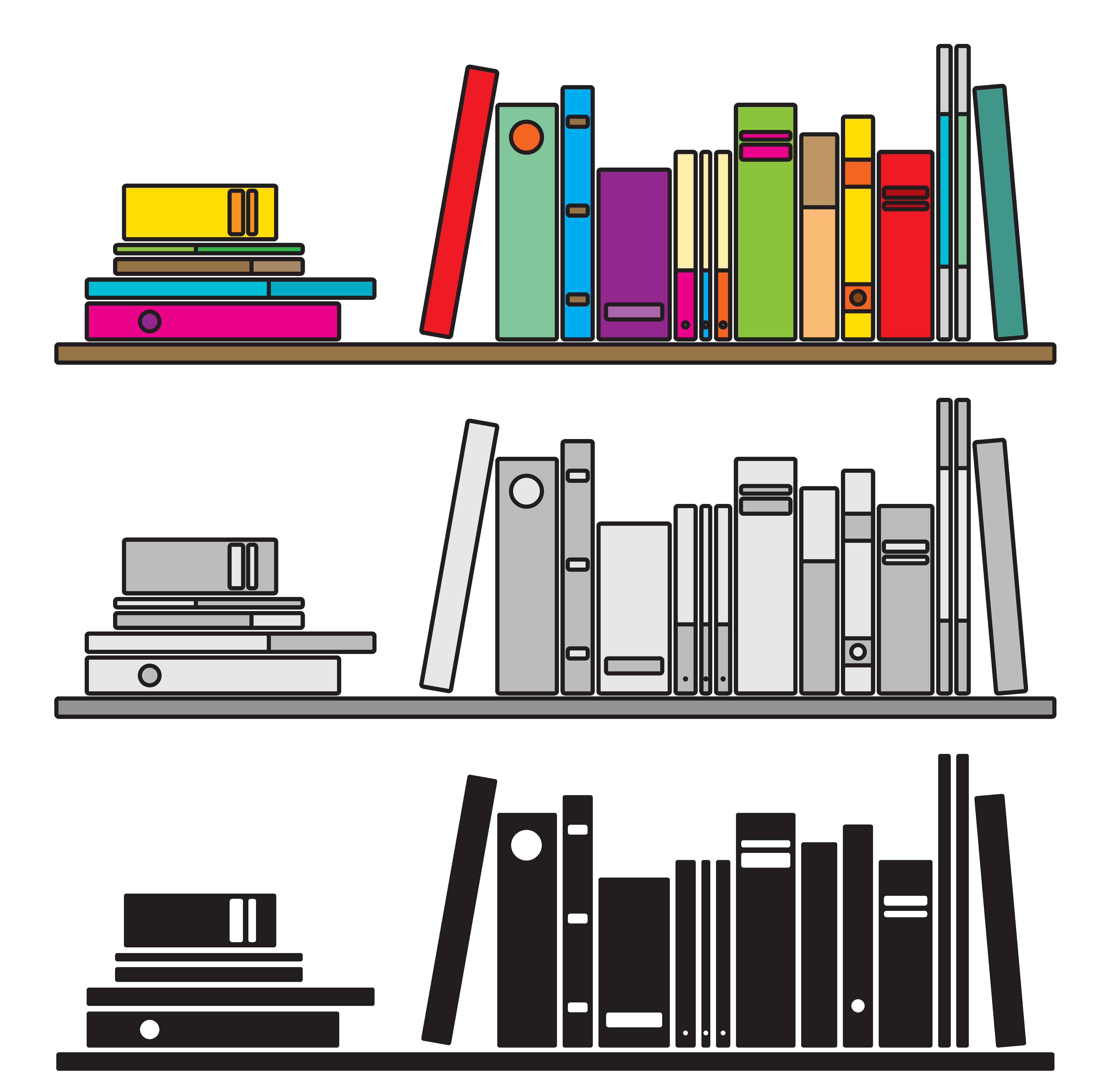 clip black and white library Bookcase illustration books transprent. Bookshelf vector