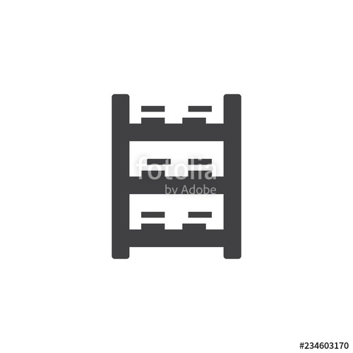 jpg free stock Icon filled flat sign. Bookshelf vector black and white
