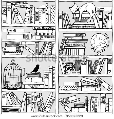 clip art transparent Bookshelf vector black and white. Hand drawn with sleeping