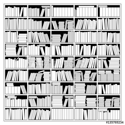 svg free stock In illustration buy . Bookshelf vector black and white