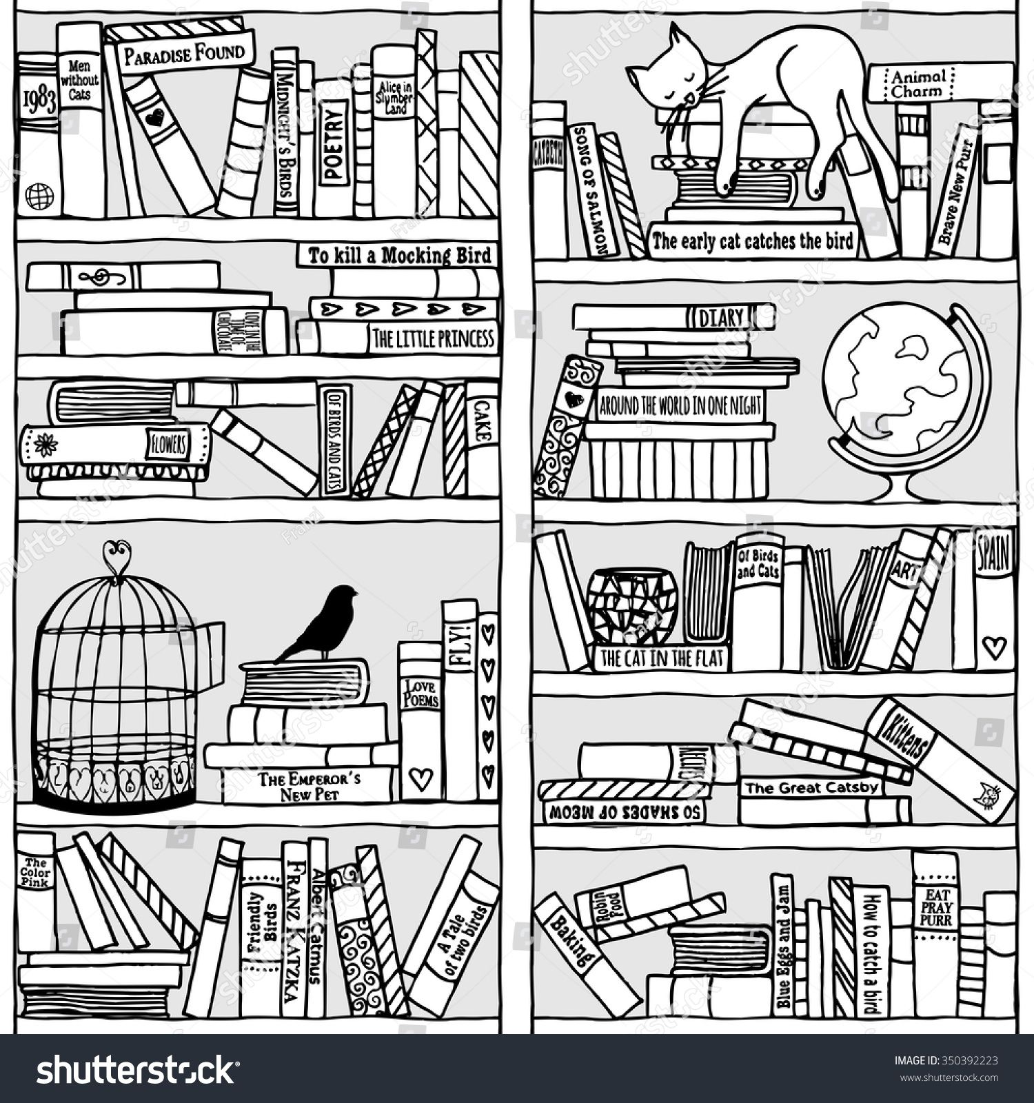 jpg library library Bookshelf vector hand drawn. With sleeping cat black