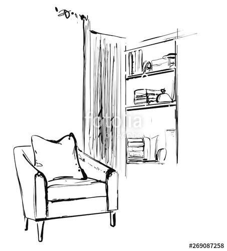 graphic royalty free Sketch of modern living. Bookshelf vector hand drawn