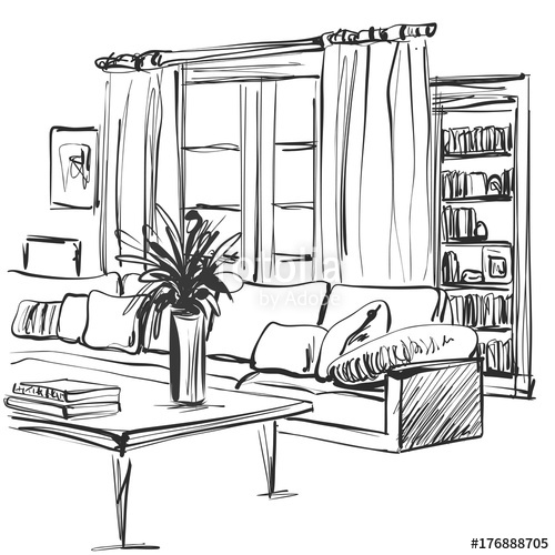 image transparent download Bookshelf vector hand drawn. Sketch of modern living