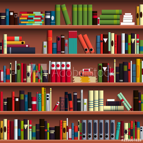 clip art royalty free download Bookshelf vector paper book. Shelves seamless pattern illustration