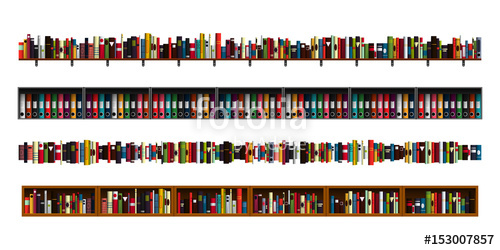 image free Bookshelf vector paper book. Vertically seamless shelves border
