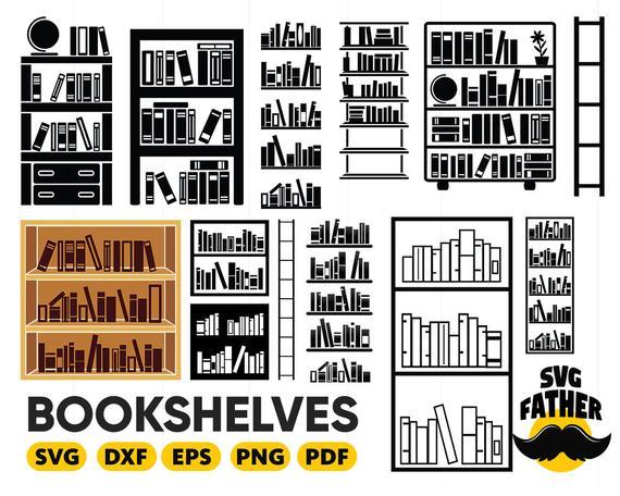 png library Bookshelves svg library book. Bookshelf vector silhouette