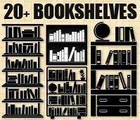 black and white stock Bookshelf vector silhouette. Free bookshelves resources vectors