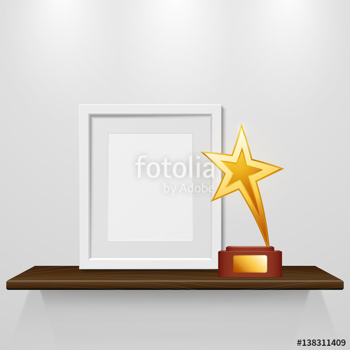 clip stock Photo frame and gold. Bookshelf vector trophy cabinet