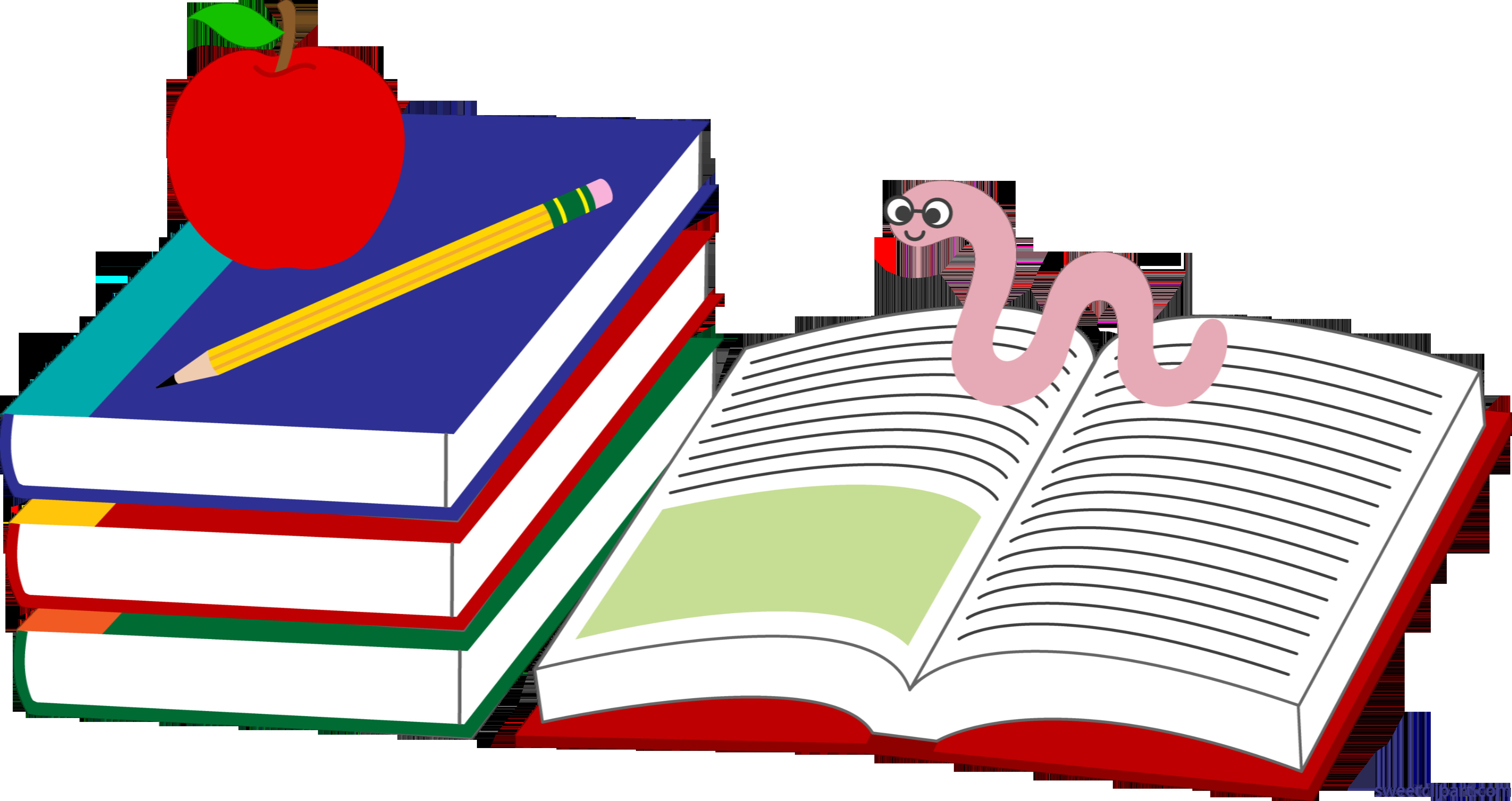 picture Books apple pencil clip. Bookworm clipart.