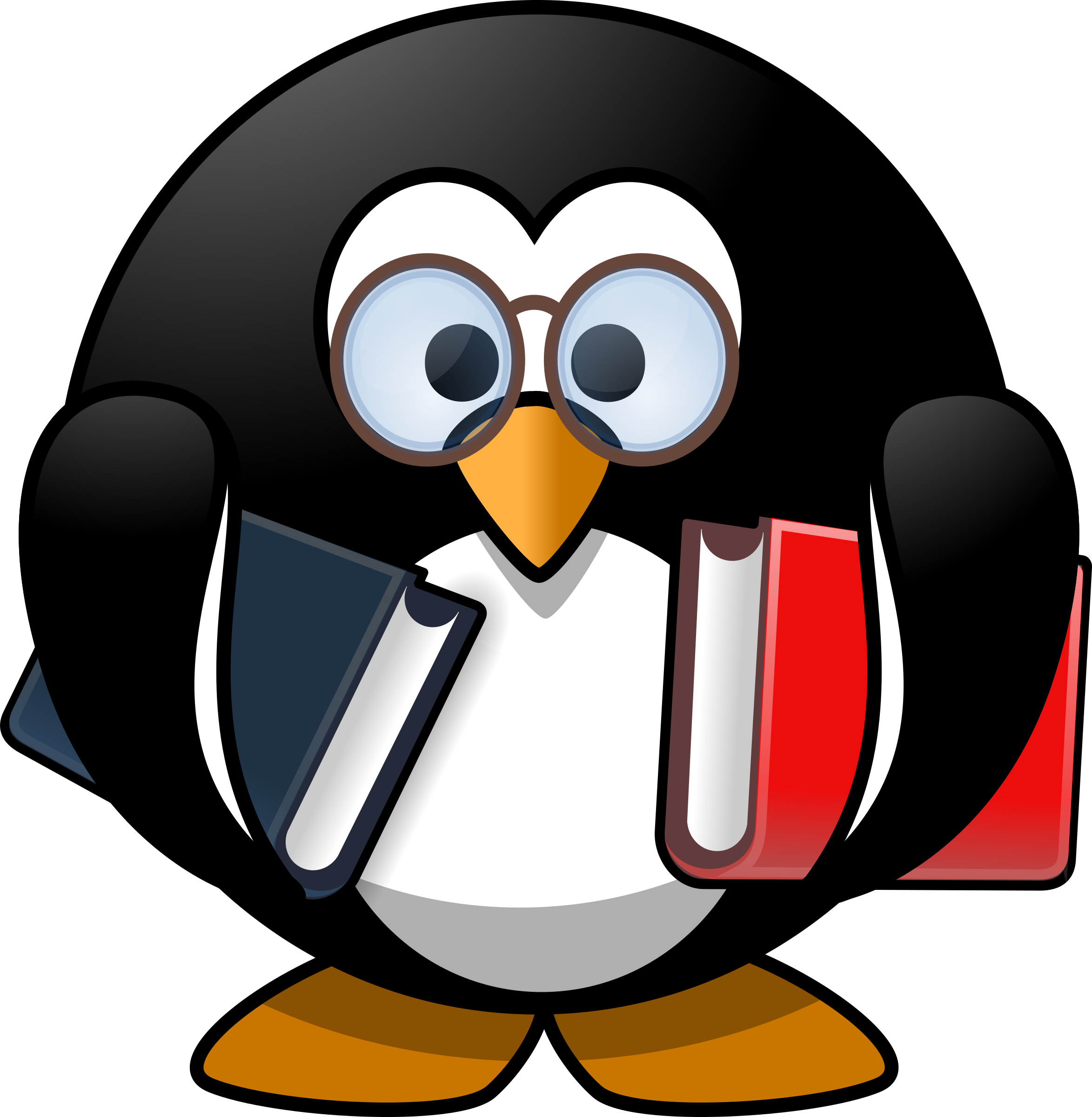 black and white Penguin big image png. Bookworm clipart animal book