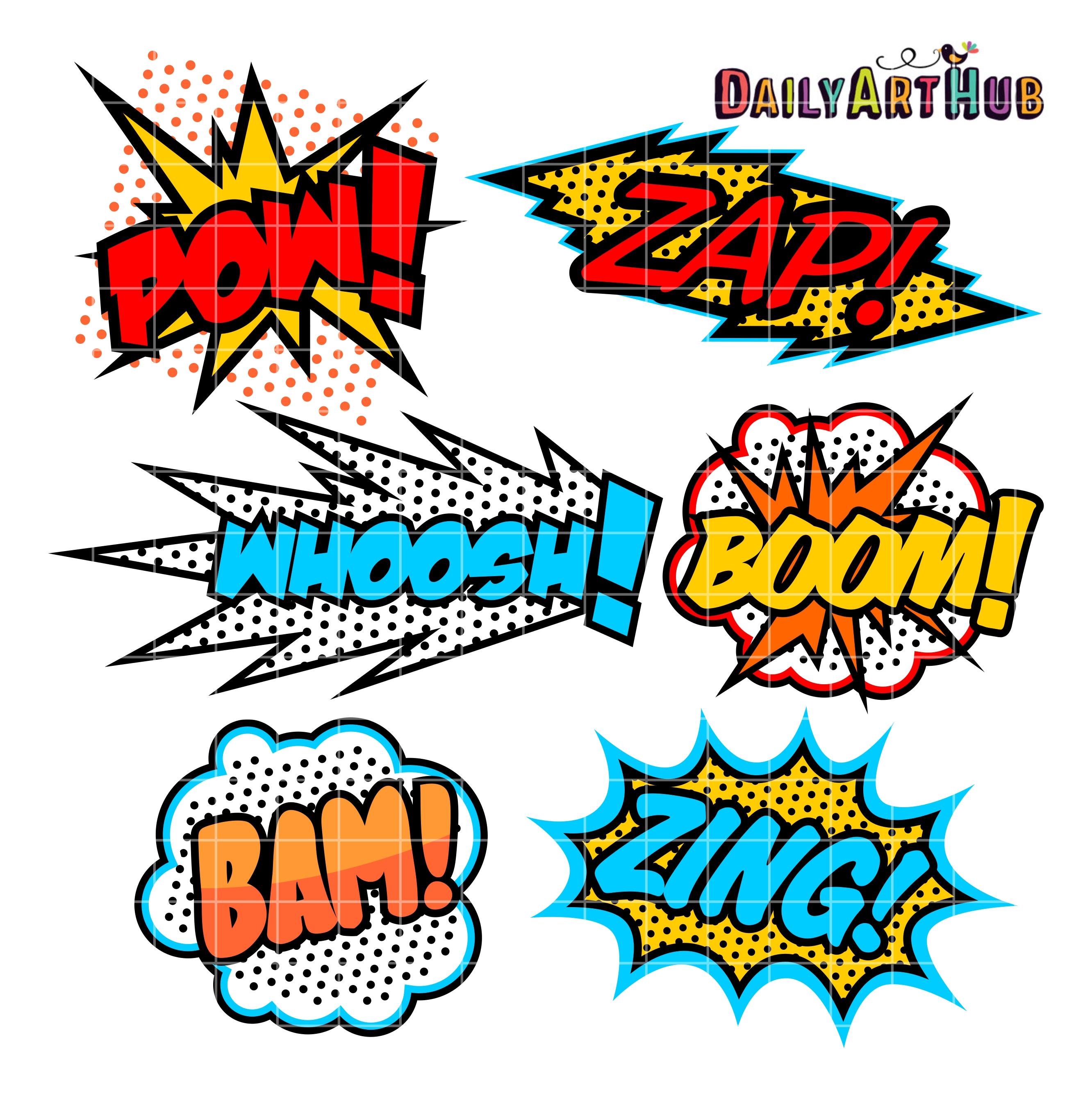 vector transparent stock Superhero clip art set. Boom clipart callout