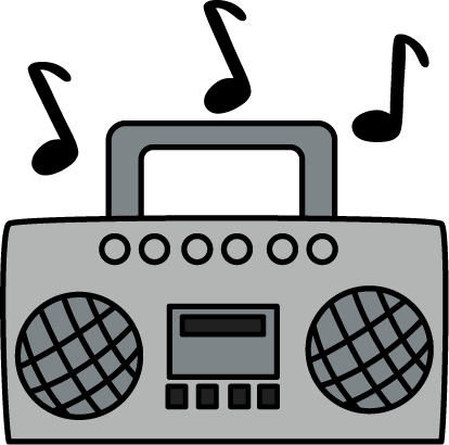 clipart transparent library With music notes decorating. Boombox clipart