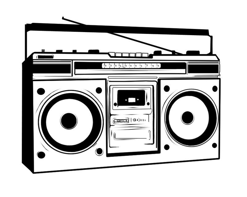 svg black and white stock Animated transparent free . Boombox clipart cartoon.
