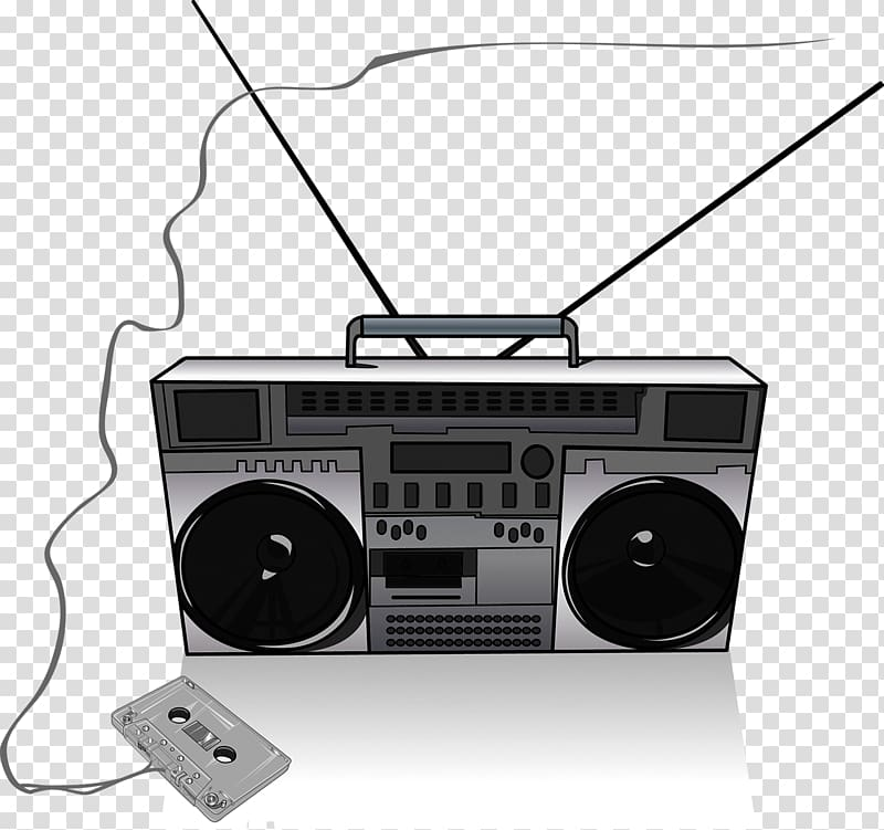 jpg black and white library Drawing radio painting player. Boombox clipart music system